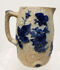 Antique Vintage Salt Glazed Molded Pitcher Cobalt Blue Repaired Handle
