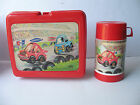 RARE Vintage KENY KMART Racecar Race Car Red Plastic Lunchbox Lunch Box +THERMOS