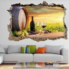 Vineyard Grapes Wine Glass Wall Art Sticker Mural Decal with 3D Effect FS21