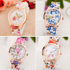 Lady Women's Girl Watch Silicone Printed Flower Causal Quartz WristWatches Cheap