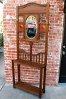 Crafts Oak Wood Entryway Hall Tree Stand Coat Rack with Mirror