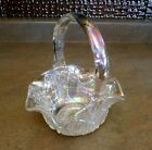 Vintage LE Smith Glass IRIDESCENT Ruffled Basket Star Cane Panel QUINTEC