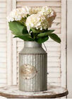 LARGE VINTAGE PRIMITIVE DECORATIVE METAL VASE, CANISTER, PITCHER IN SILVER TIN