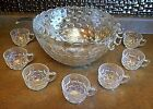 Vintage Federal Glass IRIDESCENT Colonial PUNCH BOWL SET Cups Hooks