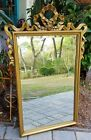 Vintage French Empire beveled mirror gold gilt bow swag Hollywood Regency 43
