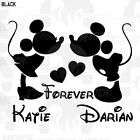 MICKEY  MINNIE MOUSE KISSING Forever Custom Names Your Name VINYL DECAL STICKER