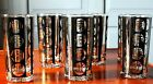 8 Mid Century Fred Press Black Gold Chinese Graphic Highball Glasses Mint!