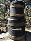 Stack of Two Small Antique Painted Pine Firkins with Covers
