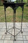Vintage Victorian pedestal table display plant stand wood top wrought iron base