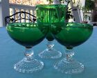 Lot of 3 Anchor Hocking Green / Clear Boopie Bubble Stemware Glasses
