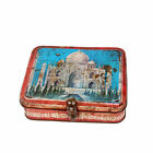 Vintage Old Tin Iron Box Storage Purpose Picture Of Taj Mahal On It