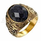 Mens Vintage Gold Stainless Steel Patterned Purple Sand Stone Band Ring 7 12