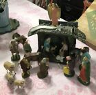 Vtg GERMANY Paper Mache CHRISTMAS NATIVITY Wool Sheep Porcelain Spun Glass