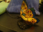 Quoizel Stained Glass Butterfly Lamp Bronze Finish Rose Base Tiffany NightLight