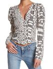Free People Sweet On You Blouse Top V Neck Black Long Button Cuff Sleeves XS New