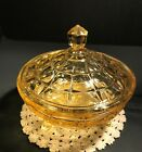Vintage Indiana yellow glass three footed candy dish with lid