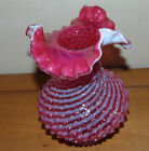 Fenton Glass Cranberry Vase Spiral Optic Hobnail Crimped Ruffle Edge Vintage