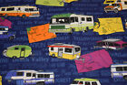RV TRAILERS CAMPERS STATE SHAPES VACATION TRAVEL USA 100 Cotton Fabric OOP HY