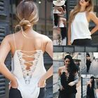 Silk Bandage Strap Tops Women Camisole Deep V Neck Lace Up Sexy Sleeveless Vest