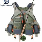 Fly Fishing Mesh Vest General Size Adjustable Mutil Pocket Outdoor Fishing DA