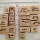 Stampin Up Greetings Retired Rubber on Wood Stamp Set