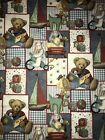 28x44 BLUE JEAN TEDDY BEAR TOYS COTTON FABRIC REMNANT