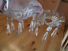 Vintage Pair Glass Bobeche Drip Catchers,W/Hanging Prism Faceted Dangles,Nice!