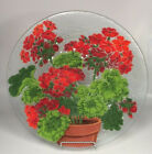 PEGGY KARR FUSED ART GLASS 135 RED GERANIUMS PLATE PLATTER SIGNED gift for mom