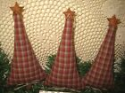 Set of 3 handmade Christmas fabric Prim tree ornaments bowl fillers Home Decor