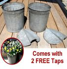 2 Vintage VERMONT Maple Sap Buckets+Covers+Taps~Rustic Country Farmhouse~Flowers