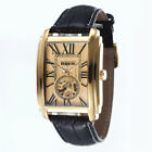 GOER Men Skeleton Watches Automatic Mechanical Rectangle Watches Leather Band