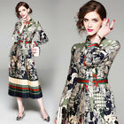 Luxury Designer Vintage women Floral Print pleated Skirt Long Sleeve party dress