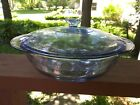 Vintage Anchor Hocking Fire King Blue Philbe 2 qt Covered Casserole