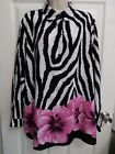 18W Sag Harbor Poly Button Front Blouse Top L S Animal Print Floral Interesting