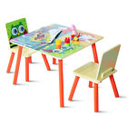 Kids Table and 2 Chairs Set For Toddler Baby Gift Desk Furniture Cartoon Pattern