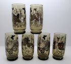 6 Anchor Hocking Smokey Brown Tumblers 16 oz Butterfly Garden Vintage Retro MCM
