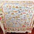 Vintage 60s German Cities Tablecloth Rectangular 52 x 45 German Collectible