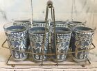 Vintage Hazel Atlas Egyptian Blue Glass Tumbler 8pc Set with Metal Rack Carrier