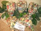 Set of 5 Handmade fabric Easter hearts ornaments bowl fillers Cottage Home Decor