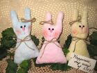 3 Country handmade Chenille fabric Easter rabbit dolls bowl fillers Home Decor