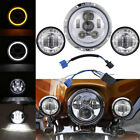 "7"" CREE LED Headlight Passing Light For Hrley Electra Glide Ultra Limited FLHTK"