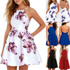 Women Spaghetti Strap Floral Print Beach Style Skater A Line Mini Dress Fashion