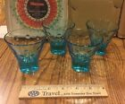 Vtg Blue Turquoise Hazel Atlas Capri Dot Glass Martini Cocktail Juice Set of 4