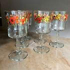 6 Set 70's Screen Print STEM WARE Drinking Glasses EUC 6 1/8
