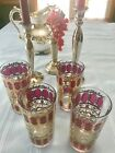 CULVER HIGHBALL TUMBLERS CRANBERRY/GOLD SCROLL SET OF 4