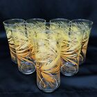 VTG Set Of 8 Libby Golden Wheat Tall Concave Drinking Glasses Ice Tea Tumblers