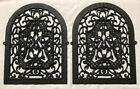 2 Ornate Antique Victorian 1890's Cast Iron Arched Heat Register Grate Fronts
