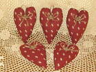 Set of 5 Prim Country fabric hearts bowl fillers Farmhouse Home Decor