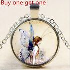Cute butterfly girl Cabochon Glass Tibet Silver Chain Pendant Necklace gift