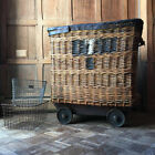 Large Antique Wicker Textile Basket With Casters, European Linen Shipping Basket